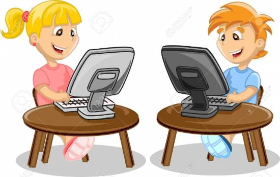 cartoon clipart of student with computer 12